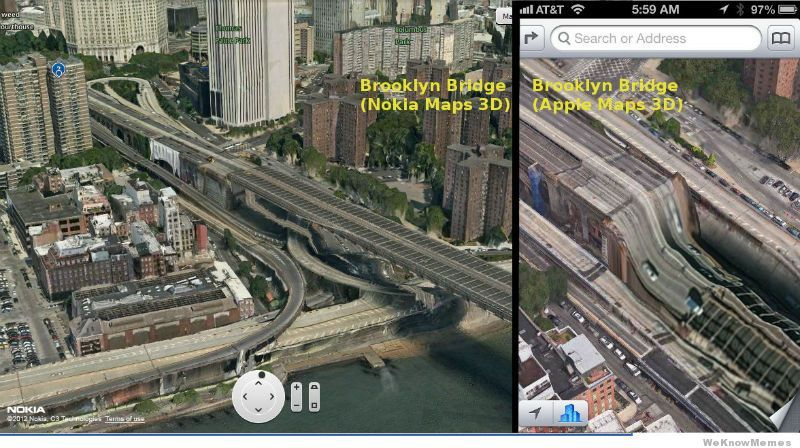 Apple maps Brooklyn bridge